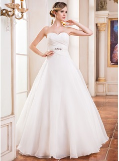 Ball-Gown Sweetheart Floor-Length Organza Satin Wedding Dress With Ruffle Beading Sequins
