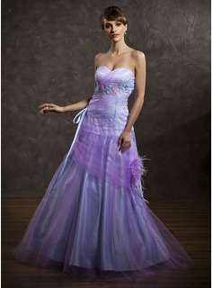 A-Line/Princess Sweetheart Floor-Length Tulle Holiday Dress With Ruffle Feather Appliques (020025990)