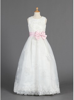 A-Line/Princess Scoop Neck Floor-Length Organza Satin Flower Girl Dress With Lace Sash Beading
