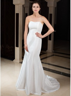 Mermaid Sweetheart Sweep Train Chiffon Taffeta Wedding Dress With Ruffle