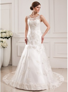 Trumpet/Mermaid Scoop Neck Cathedral Train Satin Tulle Wedding Dress With Lace (002019530)