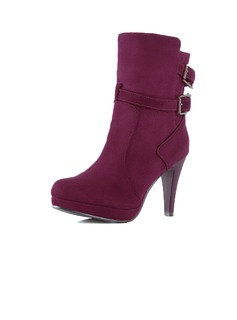 Real Leather Cone Heel Ankle Boots With Buckle shoes