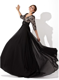 A-Line/Princess V-neck Sweep Train Chiffon Charmeuse Lace Prom Dress With Ruffle Beading Flower(s)
