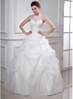 Ball-Gown Halter Floor-Length Organza Satin Quinceanera Dress With Ruffle Beading Appliques Lace