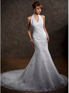 A-Line/Princess Halter Chapel Train Organza Satin Wedding Dress With Lace Beading