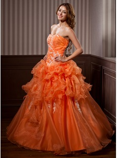 Ball-Gown Sweetheart Floor-Length Organza Quinceanera Dress With Lace Cascading Ruffles