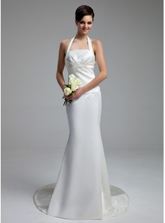 Sheath/Column Halter Chapel Train Satin Wedding Dress With Ruffle (002000058)