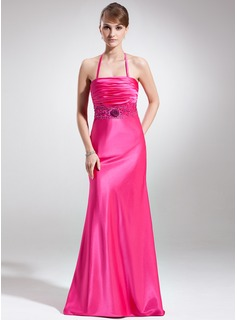 A-Line/Princess Halter Sweep Train Charmeuse Holiday Dress With Ruffle Beading