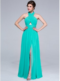 A-Line/Princess Halter Floor-Length Chiffon Holiday Dress With Ruffle