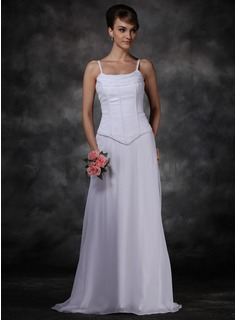 Sheath/Column Cowl Neck Watteau Train Chiffon Wedding Dress With Ruffle (002001169)
