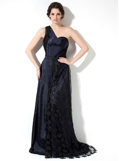 A-Line/Princess One-Shoulder Court Train Charmeuse Mother of the Bride Dress With Lace