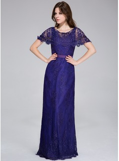 Sheath Scoop Neck Floor-Length Charmeuse Lace Evening Dress
