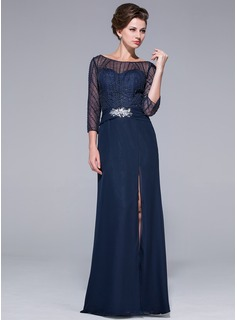 Sheath/Column Off-the-Shoulder Floor-Length Chiffon Tulle Mother of the Bride Dress With Beading Sequins Split Front