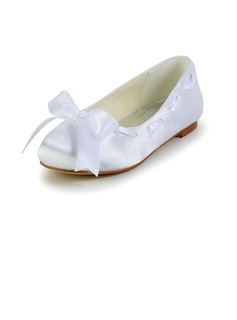 Kids' Satin Flat Heel Closed Toe Flats With Ribbon Tie