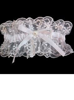 Glamourous Lace With Bowknot Rhinestone Wedding Garters