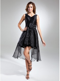 A-Line/Princess V-neck Asymmetrical Organza Satin Cocktail Dress With Ruffle Bow(s)