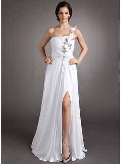 Sheath One-Shoulder Floor-Length Chiffon Holiday Dress With Ruffle Flower(s) Sequins