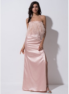 Sheath/Column Floor-Length Charmeuse Evening Dress With Beading Feather Sequins Split Front