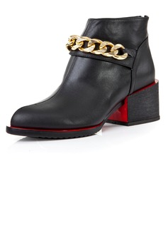 Real Leather Low Heel Pumps Closed Toe Ankle Boots With Chain shoes