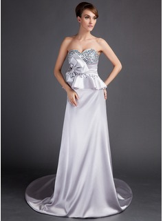 A-Line/Princess Sweetheart Court Train Charmeuse Mother of the Bride Dress With Beading Bow(s)