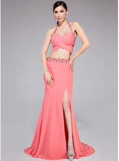 Trumpet/Mermaid Halter Sweep Train Chiffon Prom Dress With Ruffle Beading Split Front