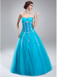 A-Line/Princess Sweetheart Floor-Length Tulle Quinceanera Dress With Lace Beading (021018808)
