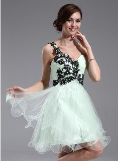 A-Line/Princess One-Shoulder Short/Mini Tulle Homecoming Dress With Embroidered Ruffle Lace Beading (022011005)