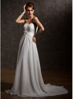 A-Line/Princess Sweetheart Court Train Chiffon Satin Wedding Dress With Ruffle Beadwork Feather