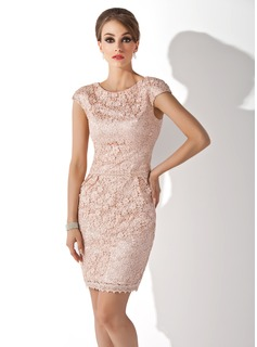 Sheath Scoop Neck Knee-Length Charmeuse Lace Mother of the Bride Dress