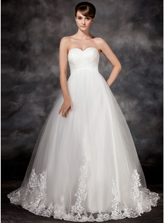 Empire Sweetheart Court Train Satin Tulle Wedding Dress With Appliques Lace