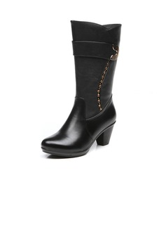 Real Leather Cone Heel Mid-Calf Boots With Buckle shoes