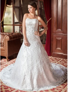A-Line/Princess Sweetheart Cathedral Train Satin Lace Wedding Dress With Beadwork (002000544)