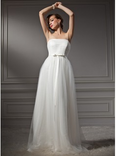 A-Line/Princess Strapless Sweep Train Satin Tulle Wedding Dress With Ruffle (002011544)