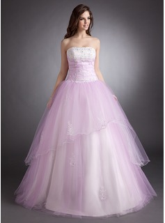 Ball-Gown Strapless Floor-Length Satin Tulle Quinceanera Dress With Beading Appliques Lace