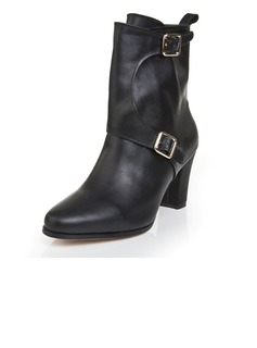 Real Leather Chunky Heel Pumps Closed Toe Ankle Boots With Buckle shoes