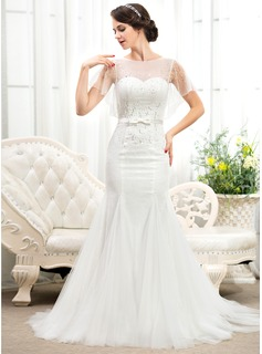 Trumpet/Mermaid Scoop Neck Sweep Train Tulle Charmeuse Lace Wedding Dress With Beading Sequins Bow(s)