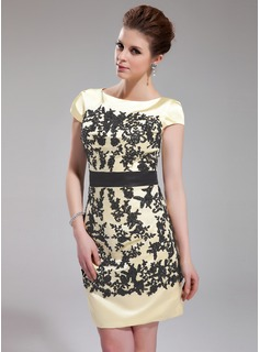 Sheath Scoop Neck Knee-Length Charmeuse Cocktail Dress With Embroidered Sash (016019706)