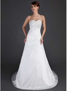 A-Line/Princess Sweetheart Court Train Taffeta Wedding Dress With Ruffle Lace Beadwork (002000482)