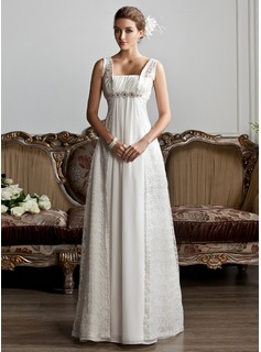 A-Line/Princess Square Neckline Sweep Train Chiffon Lace Wedding Dress With Ruffle Beadwork (002013801)