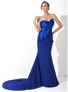 Mermaid Sweetheart Court Train Chiffon Charmeuse Evening Dress With Ruffle
