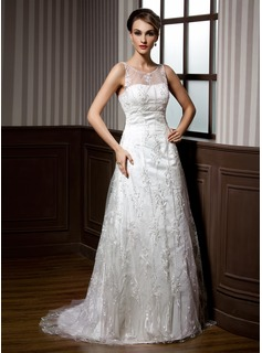 A-Line/Princess Scoop Neck Sweep Train Satin Lace Wedding Dress With Beading