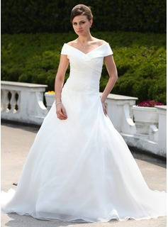 Ball-Gown Off-the-Shoulder Chapel Train Organza Wedding Dress With Ruffle Beadwork (002000599)