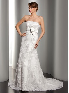 A-Line/Princess Strapless Court Train Satin Lace Wedding Dress With Beading Sequins Bow(s)