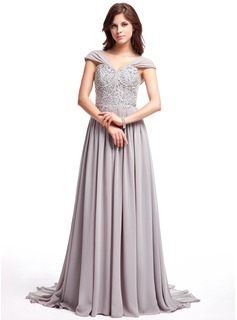A-Line/Princess V-neck Sweep Train Chiffon Prom Dress With Ruffle Lace Beading Sequins
