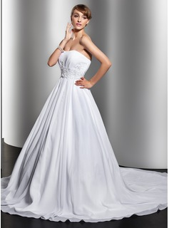 Ball-Gown Sweetheart Chapel Train Chiffon Wedding Dress With Ruffle Beading Appliques Lace