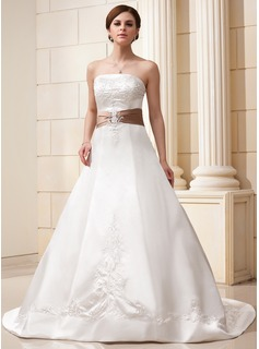 A-Line/Princess Strapless Court Train Satin Wedding Dress With Embroidery Sash