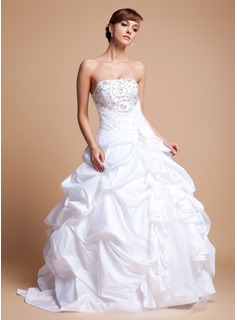 Ball-Gown Strapless Floor-Length Taffeta Tulle Wedding Dress With Embroidery Ruffle Beadwork Sequins