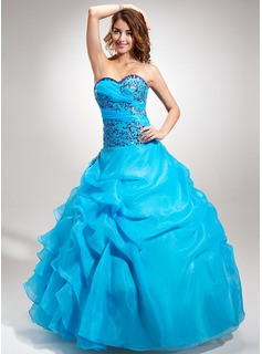 Ball-Gown Sweetheart Floor-Length Organza Quinceanera Dress With Embroidered Beading Sequins Cascading Ruffles
