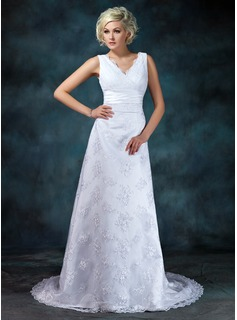 Empire V-neck Court Train Satin Lace Wedding Dress With Ruffle Beadwork
