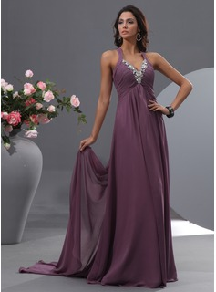 A-Line/Princess V-neck Watteau Train Chiffon Prom Dress With Ruffle Beading